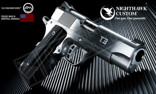 "NIGHTHAWK CUSTOM 1911 T3 STAINLESS OFFICER WITH 4.25"" BARREL IN 45ACP"