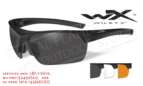 Wiley X Guard Advanced Combo Shooting Glasses with Light Rust Smoke Grey and Clear Lenses Matte Black Frame #4006