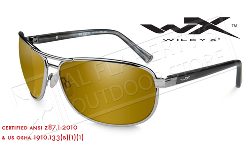 Wiley X Klein POL Venice Shooting Glasses with Gold Mirror Lens and Gunmetal Frame #ACKLE04