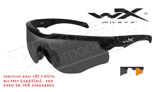 Wiley X Rogue Shooting Glasses Combo with Rust Smoke and Clear Lenses and Matte Black Frame #2852