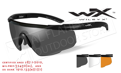 Wiley X Saber Advanced Shooting Glasses Combo with Clear Gray and Rust Lenses and Matte Black Frame #308