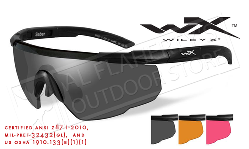 Wiley X Saber Advanced Shooting Glasses Combo with Gray Vermillion and Rust Lenses and Matte Black Frame #309