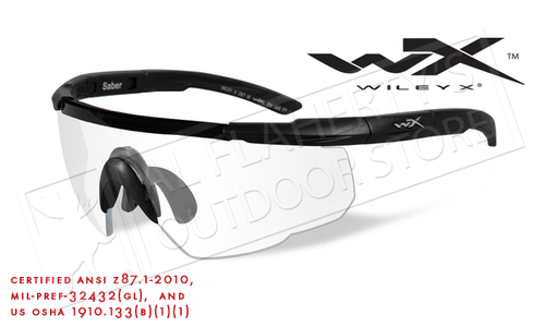 Wiley X Saber Advanced Shooting Glasses with Clear Lens and Matte Black Frame #303