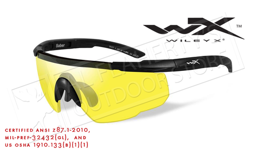 Wiley X Saber Advanced Shooting Glasses with Yellow Lens and Matte Black Frame #300