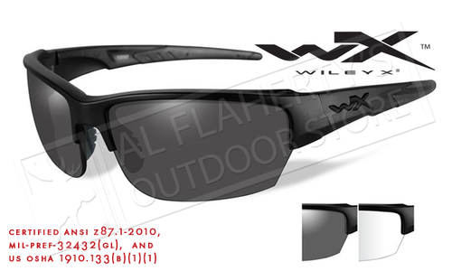 Wiley X Saint Combo Shooting Glasses with Smoke Grey and Clear Lenses and Matte Black Frame #CHSAi06