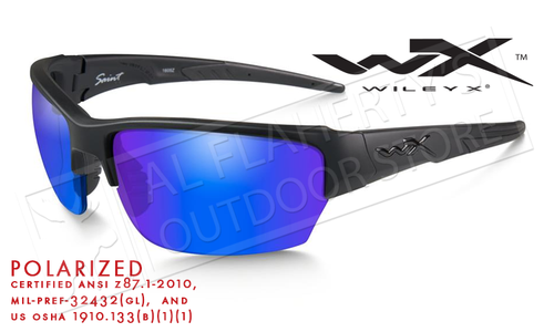 Wiley X Saint Polarized Shooting Glasses with Blue Mirror Lens and Matte Black Frame #CHSAi29