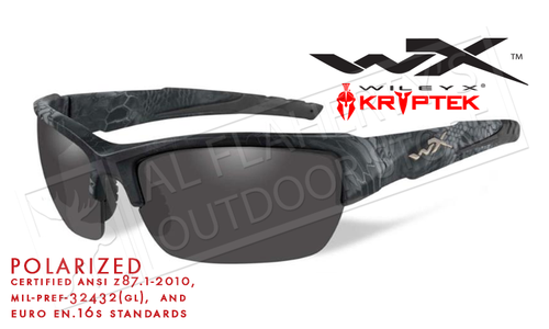 Wiley X Valor POL Polarized Shooting Glasses in Smoke Grey Lens and Kryptek Typhon Frames #CHVAL12