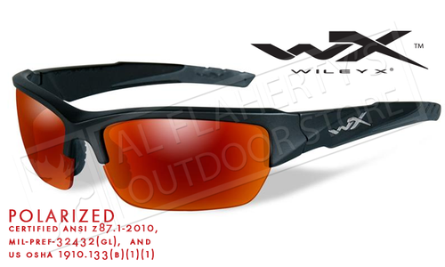 Wiley X Valor POL Polarized Shooting Glasses with Crimson Mirror Lens and Matte Black Frame #CHVAL05