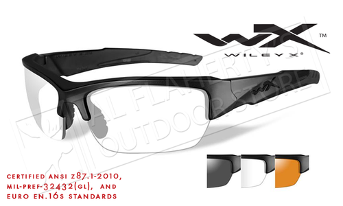 Wiley X Valor Shooting Glasses Combo with Clear Smoke Grey and Light Rust Lenses and Matte Black Frames #CHVAL06