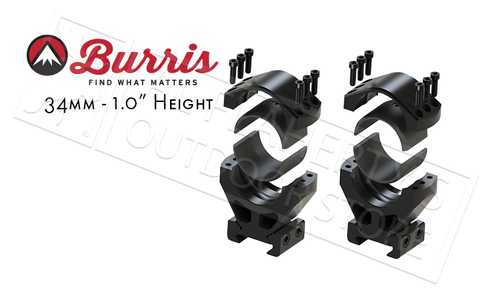 "Burris XTR Signature Rings, 34mm 1"" Height, Customizable Cant #420210"
