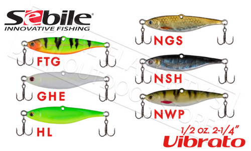 "Sebile Vibrato Jigs, 1/2 oz. 2-1/4"" Various Patterns"