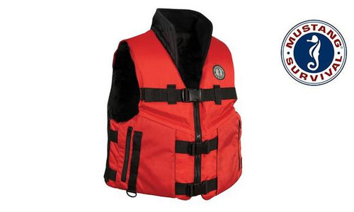 Mustang ACCEL100 Fishing Vest, Black & Red Sizes M-XXL