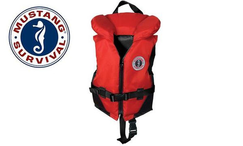 Mustang Classic PFD - Youth Size 60 to 90 lbs., Red & Black