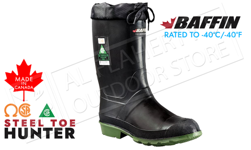 Baffin Hunter Safety Boot, Black, Rated to -40°C/-40°F #85640000