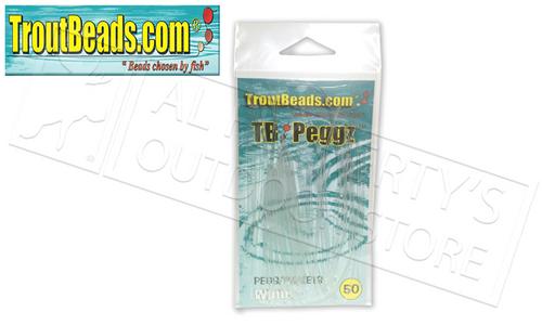 TroutBeads.com TB Peggz, White, Pack of 50 #TBPG-WT
