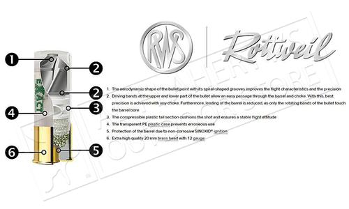 "RWS Rottweil Extra Line eXact Rifled Slugs 12 Gauge 2-3/4"" Box of 10 #2317051"