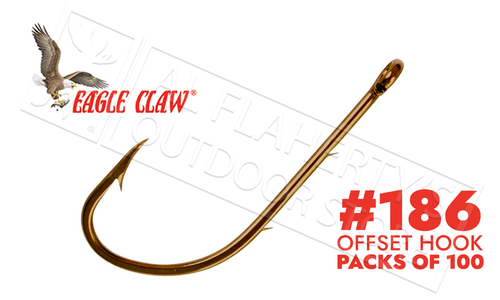 Eagle Claw Baitholder Bronze Hooks, Ringed Eye, Packs of 100, Sizes 10 to 1 #186