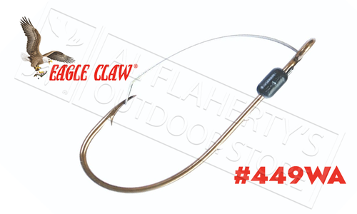 Eagle Claw Baitholder Weedless Bronze Hooks, Ringed Eye, Packs of 5, Sizes 6 to 4/0 #449WA