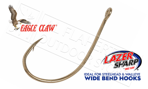 Eagle Claw Lazer Sharp Wide Bend Hooks, Bulk Packs of 50, Sizes 14 to 1 #L042F
