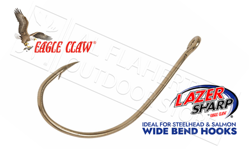 Eagle Claw Lazer Sharp Wide Bend Hooks, Sizes 14 to 2, Bronze Finish, Pack of 10 #L042G