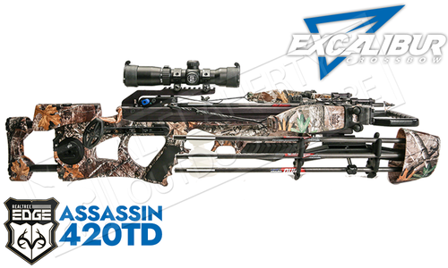 Excalibur Assassin 420 Crossbow with Charger Cranking System Assassin  Realtree Edge #E73608