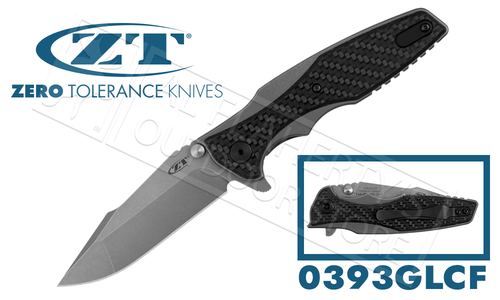 Zero Tolerance 0393 Hinder Glow Carbon Fiber KVT Flipper #0393GLCF
