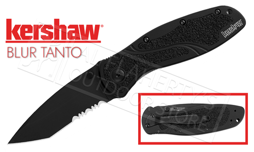 Kershaw BLUR Black Folding Knife - Tanto with Serrated Edge #1670TBLKST