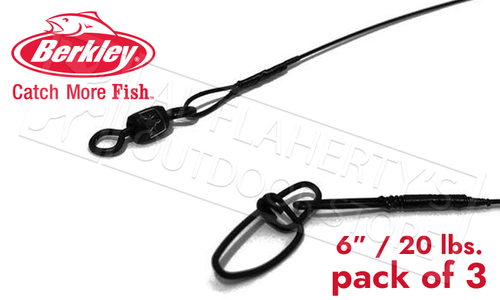 Berkley Barrel Swivel Wire Leaders, 20 lbs. 6 Inch, Pack of 3 #3W620BL