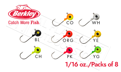 Berkley Essentials Round Ball Jigs, 1/16 oz Pack of 8 #BRBJ116
