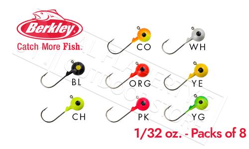 Berkley Essentials Round Ball Jigs, 1/32 oz Pack of 8 #BRBJ132