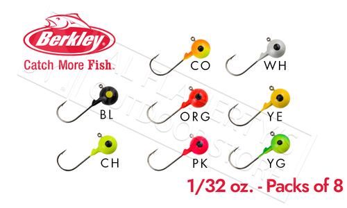 Berkley Essentials Round Ball Jigs, 1/32 oz Pack of 8 #BRBJ132