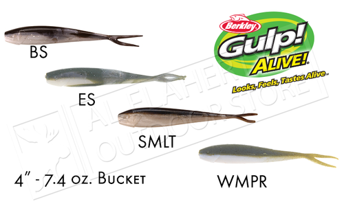 "Berkley Gulp! Alive! Minnows, 4"" 7.40oz Bucket #GAFHPMI4"