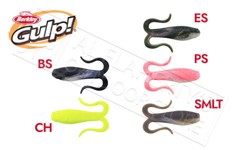 Berkley Gulp! Doubletail Minnow Grub, Size 3, Various Colours #GDTG3