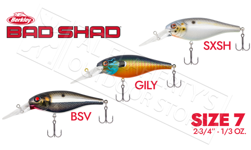 "Berkley Bad Shad 7, 2-3/4"" 1/3 oz. Various Patterns #BHBBS7"