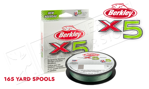 Berkley X5 Braid Fishing Line, Low-Vis Green 165 Yard Spools #X5BFSxx-22
