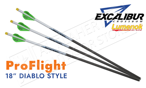 "Excalibur Proflight Arrows 18"" with LUMENOK - Diablo Length, Pack of 3 #22EXP18IL-3"