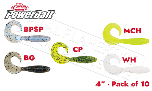 "Berkley PowerBait Power Grubs, 4"" Pack of 10, Various Patterns #PBBG4"