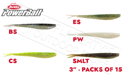 "Berkley PowerBait Minnows, 3"" Pack of 15, Various Patterns #PBBMW3"