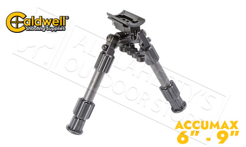 "Caldwell Accumax Carbon Fiber Bipod with Sling Swivel Stud Attachment - 6"" to 9"" #1092515"