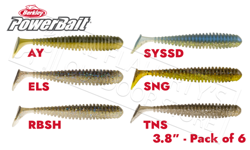 "Berkley PowerBait Power Swimmer, 3.8"" Pack of 6, Various Patterns #PBPS3"