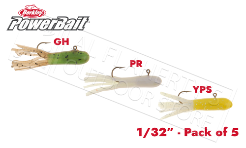 Berkley PowerBait Pre-Rigged Atomic Tubes, Various Patterns, Packs of 5, 1/32 oz. #PCAT132