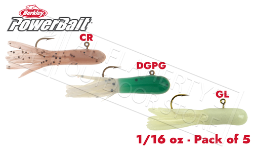 Berkley PowerBait Pre-Rigged Atomic Tubes, Various Patterns, Packs of 5 1/16 oz. #PCAT116