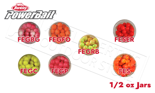 Berkley PowerBait Power Eggs Floating Magnum Size, Various Patterns, 0.5 oz Jar #FE