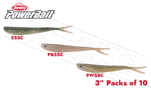 "Berkley PowerBait Dropshot Power Bass Minnows, Various Patterns, 3"" Packs of 10 #PBBSDPBM3"