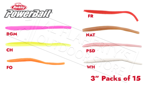 "Berkley PowerBait Floating Trout Worms, Various Patterns, 3"" Packs of 15 #PBHFTW3"