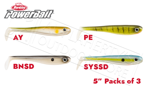 "Berkley PowerBait Hollow Belly, Various Patterns, 5"" Packs of 3 #PBHB5"