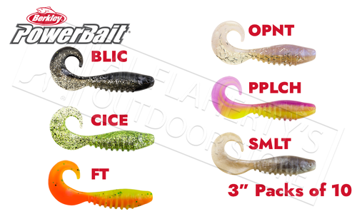 "Berkley PowerBait Pro Grub, Various Patterns, 3"" Packs of 10 #PBBPSGR3"