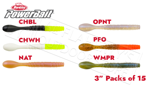 "Berkley PowerBait Pro Jig Worm, Various Patterns, 3"" Bag of 15 #PBBPSJW3"
