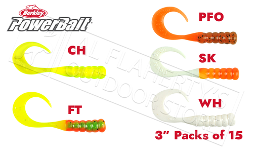 "Berkley PowerBait Ribbontail Grubs, Various Patterns, 3"" Pack of 15 #PBHRG3"