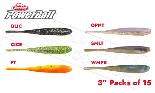 "Berkley PowerBait Pro Twitchtail Minow, Various Patterns, 3"" Pack of 15 #PBBPSTW3"